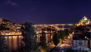Фотографии Португалия Реки Мосты Портус Кале Ночь