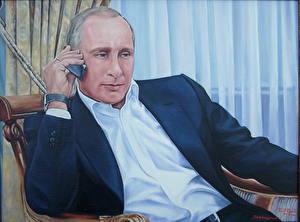 Картинки Картина Владимир Путин Мужчины Президент