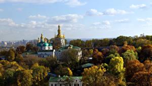 Картинка Украина Храмы Дерева Киев Города