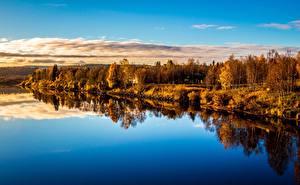Фотография Времена года Осень Реки Леса Небо Рассветы и закаты Деревья Облака Природа