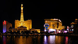 Картинка Штаты Здания Речка Лас-Вегас Ночь Города