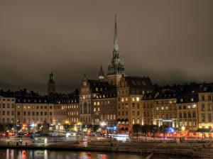 Фотография Швеция Дома Стокгольм Ночь Уличные фонари