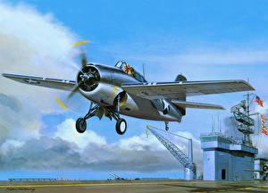 Картинки Самолеты Рисованные Взлет F4F-4 Wildcat