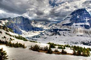 Фото Канада Парки Зимние Горы Банф Снеге Природа