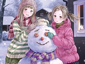 Фотография Рисованные Девочка Снеговики Дети