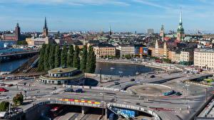 Картинки Швеция Дома Дороги Стокгольм