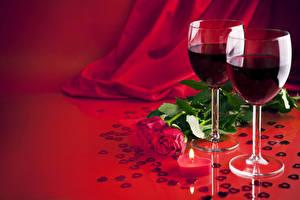 Обои Розы Вино Бордовая Лепестки Бокалы Цветы Еда