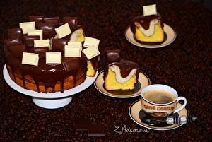 Картинка Сладости Торты Шоколад Кофе Чашка Зерно Еда