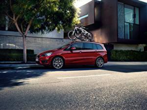 Обои BMW Бордовые Металлик Асфальт 2015 220i Gran Tourer Автомобили