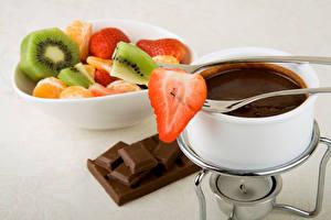Обои Фрукты Шоколад Чашка Продукты питания