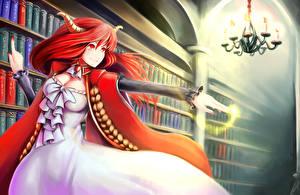 Картинка Магия Сверхъестественные существа Рыжая Рога Библиотека maoyuu maou yuusha, maou Аниме Фэнтези Девушки
