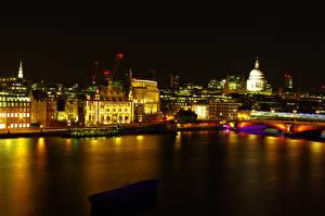 Фотографии Великобритания Речка Здания Лондоне Ночные