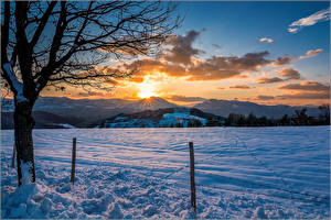 Картинка Сезон года Зимние Рассветы и закаты Пейзаж Снег Природа