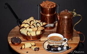 Обои Выпечка Печенье Кофе Орехи Чашка Пища