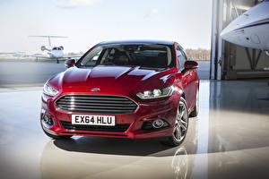 Фотографии Ford Бордовая Металлик Спереди 2015 Mondeo машины