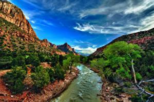 Картинка Пейзаж Штаты Парк Горы Речка Небо Зайон национальнай парк Деревьев HDR Utah