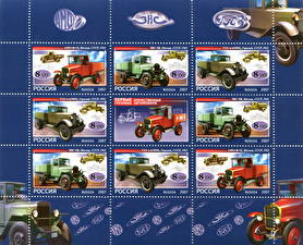 Фотографии Рисованные Postage stamp, The first native trucks, AMO-F-15, GAZ-AA (MM), ZIS-5V Автомобили