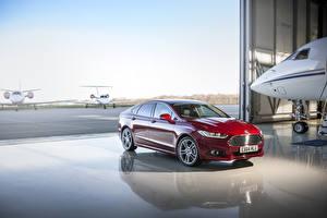 Картинки Ford Темно красный Металлик 2015 Mondeo Автомобили