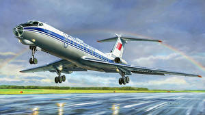 Картинка Самолеты Пассажирские Самолеты Рисованные Радуга Взлет Ty-134A Авиация