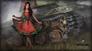 Картинки World of Tanks Танки Платья Nikita Bolyakov Игры Девушки