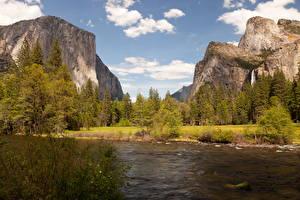Фотографии Штаты Парк Гора Реки Йосемити Ель Природа