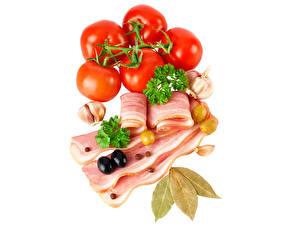 Картинки Мясные продукты Томаты Чеснок Приправы Сало Еда