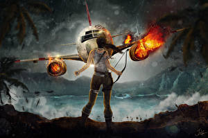 Фотографии Самолеты Tomb Raider Tomb Raider 2013 Катастрофы Игры Авиация Девушки