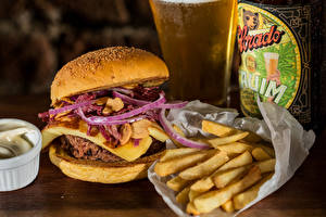 Фотография Быстрое питание Гамбургер Картофель фри Пища