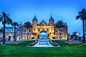 Обои Монако Дома Монте-Карло Газон Пальмы Ночь Казино Grand Casino Города