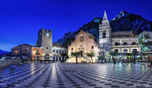 Фотография Италия Дома Сицилия Улице Ночью Taormina город