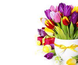 Картинки Тюльпаны Пасха Вазе Яйцами Цветы