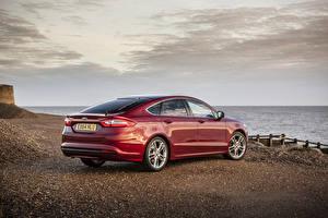 Картинка Ford Бордовая Металлик Сзади 2015 Mondeo машины