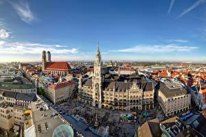 Фотография Германия Дома Небо Мюнхен Улиц Башня