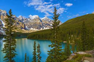 Картинка Канада Парк Гора Озеро Небо Пейзаж Банф Ель Moraine Lake Природа