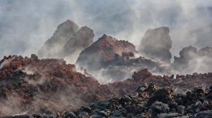 Обои Россия Горы Камчатка Дым Природа
