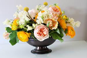 Фотография Букеты Тюльпаны Лютик Розы Ваза Цветы