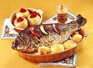Обои Морепродукты Рыба Картофель Еда фото
