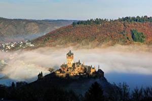 Фотографии Германия Замки Кохем Тумана Reichsburg