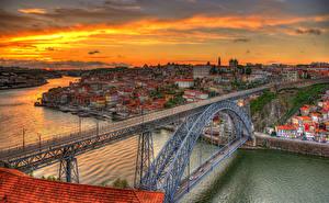 Фотография Португалия Дома Мосты Рассветы и закаты Портус Кале Водный канал Ponte Luís I