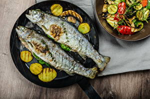 Обои Морепродукты Рыба Овощи Еда фото