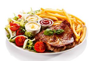 Картинки Вторые блюда Мясные продукты Картофель фри Помидоры Кетчупом Еда