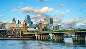 Фотография Великобритания Дома Речка Мосты Лондоне
