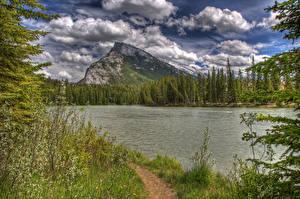 Картинки Канада Парк Озеро Леса Банф Облачно HDR Природа
