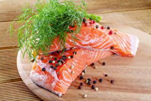 Обои Морепродукты Рыба Укроп Специи Еда фото