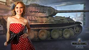 Фотографии WOT Танки Рисованные Платье Nikita Bolyakov Игры Девушки