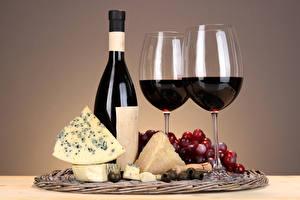Фото Напитки Вино Сыры Виноград Бокалы Бутылка Пища