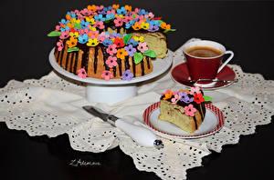 Фото Выпечка Пирог Кофе Чашка Тарелке Продукты питания
