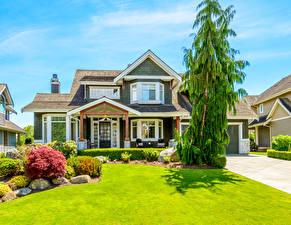 Обои Дома Ландшафт Особняк Дизайн Кусты Газон Города фото