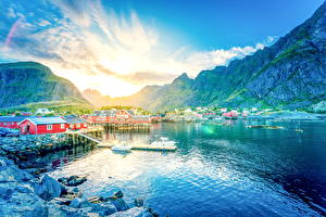 Фотографии Норвегия Горы Дома Рассвет и закат Озеро Лофотенские острова Природа Города