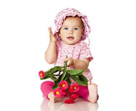 Картинка Маргаритка Младенец Девочки Шляпа Дети